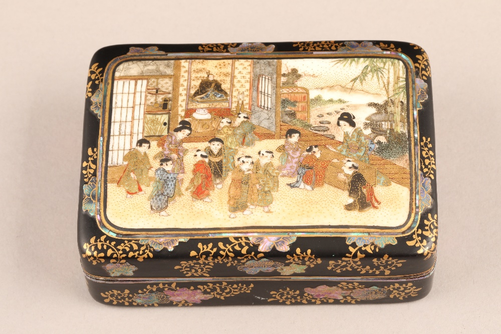 Japanese satsuma rectangular trinket box and cover, decorated internally and externally with - Image 2 of 10