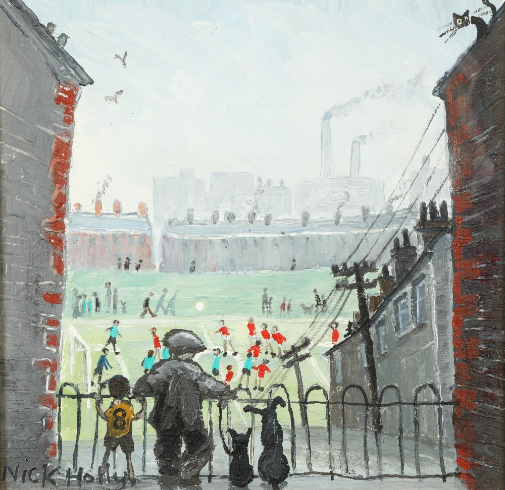 Nick Holly (Welsh Contemporary) ARR Framed oil on board, signed 'The Football Match' 20cm x 20cm