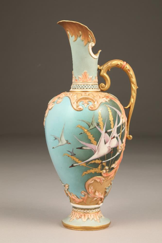 Fine Nautilus porcelain ewer, baluster form with a gilt scroll acanthus leaf handle, painted in - Image 4 of 6