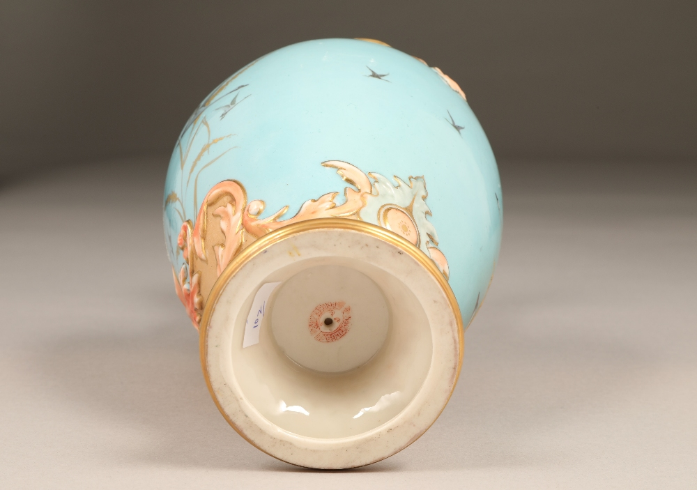 Fine Nautilus porcelain ewer, baluster form with a gilt scroll acanthus leaf handle, painted in - Image 6 of 6