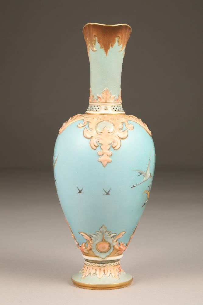 Fine Nautilus porcelain ewer, baluster form with a gilt scroll acanthus leaf handle, painted in - Image 3 of 6
