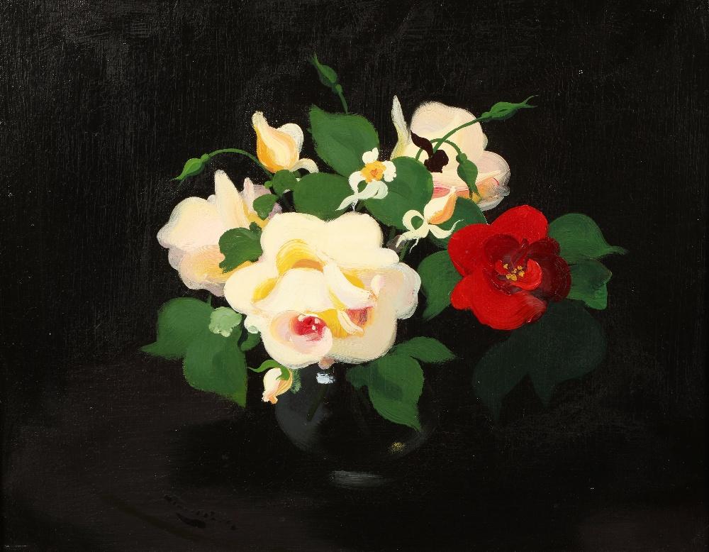 James Stuart Park (Scottish 1862-1933) Gilt framed oil on canvas, signed 'Still Life White and Red