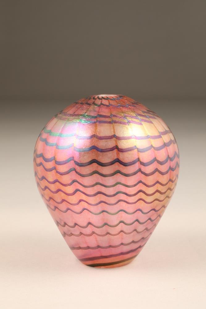 John Ditchfield for Glasform, a pink iridescent ovoid glass vase, etched to base Glasform J.