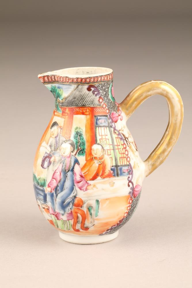 18th/19th century Chinese sparrow beak jug, decorated with figures in garden and river landscape, - Image 3 of 5