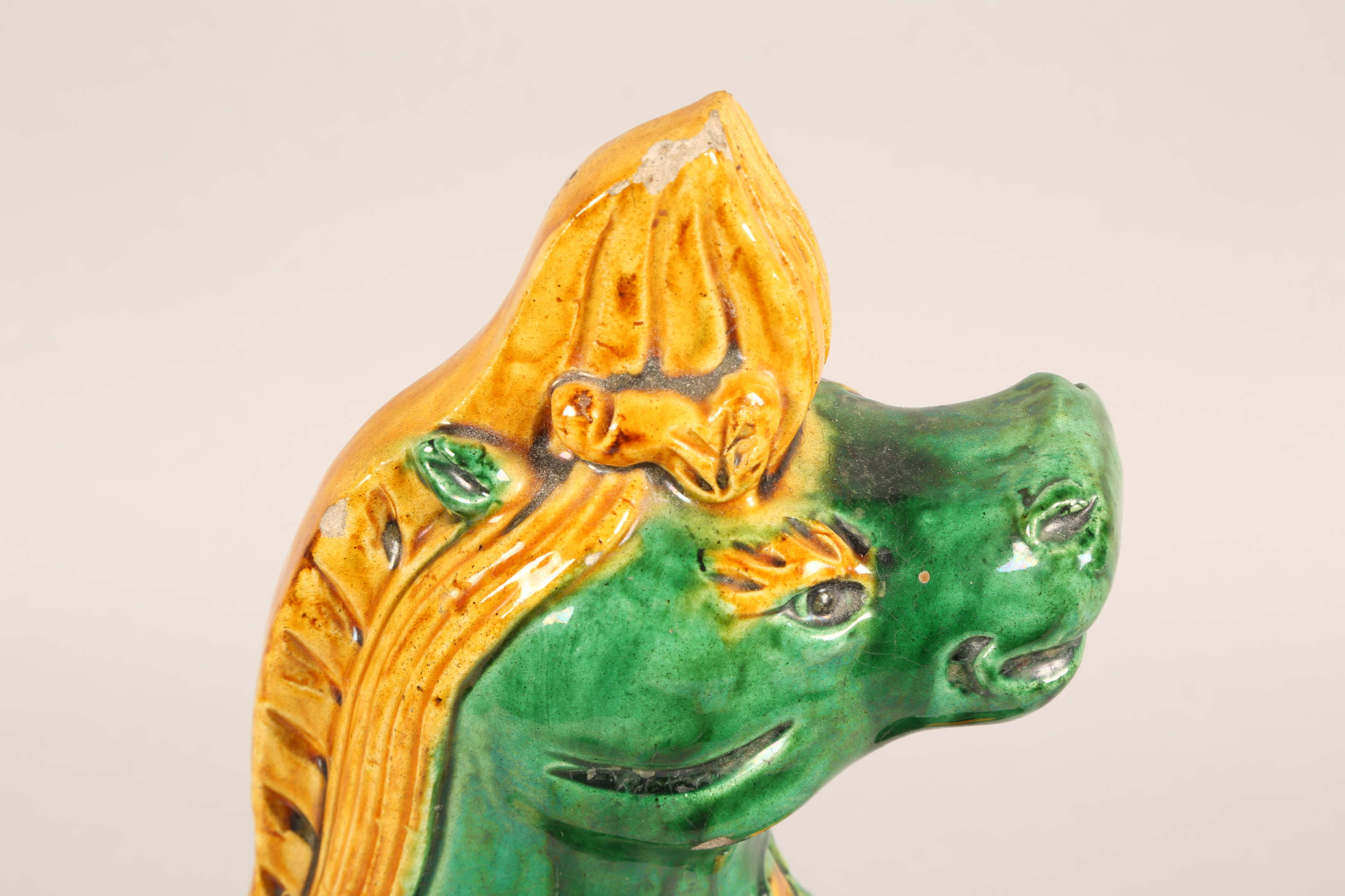 Pair of Chinese roof tiles in the form of heavenly horses in green, brown and yellow glaze, 24.5cm - Image 9 of 12