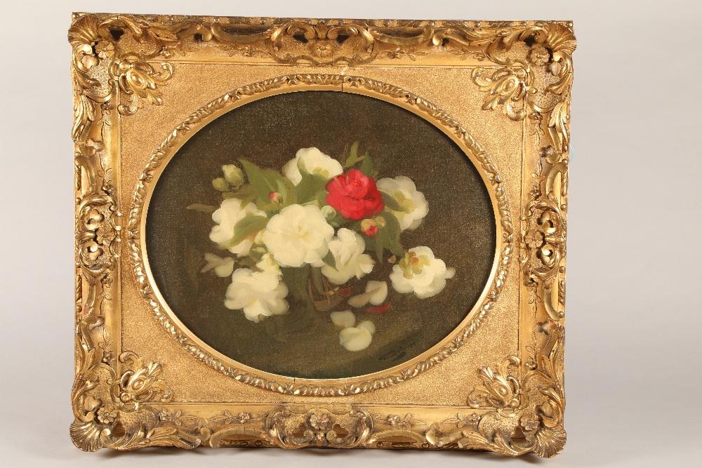 James Stuart Park (Scottish 1862-1933) Gilt Framed oil on canvas, signed 'Camellia's' 50cm x 60cm