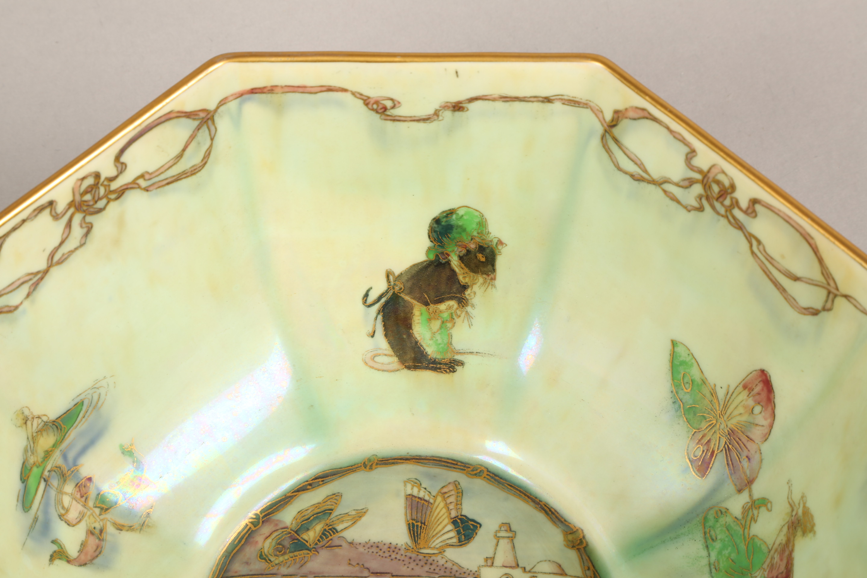 Wedgwood fairyland lustre bowl, by Daisy Makeig-Jones, octagonal form, decorated in the Firbolgs - Image 9 of 15