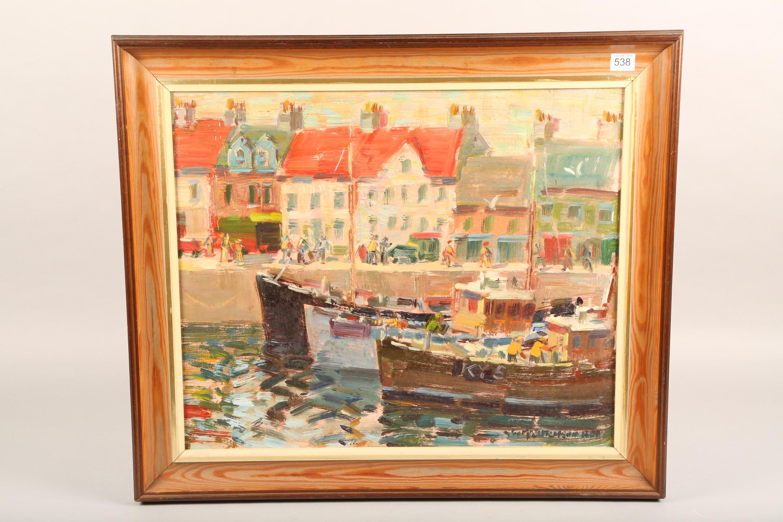 John McCutcheon ROI (Scottish born 1910) ARR Framed oil on board, signed 'Anstruther' 49cm x 59cm - Image 5 of 5
