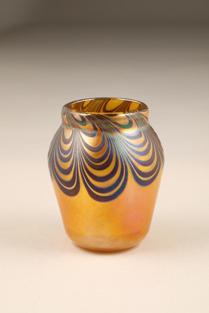 John Ditchfield for Glasform, a small yellow iridescent glass vase, etched to base Glasform J.