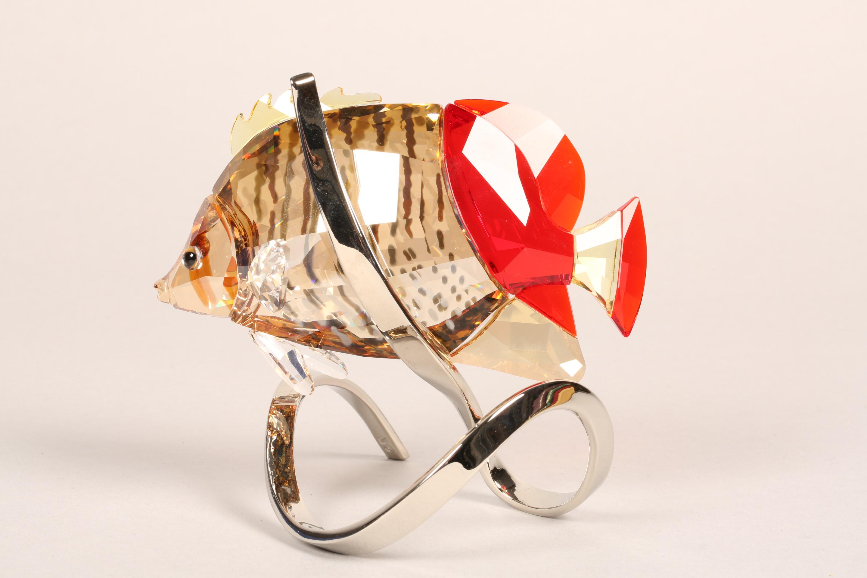 Swarovski crystal paradise butterfly fish, crystal body raised on a stylised chrome metal base, - Image 4 of 6