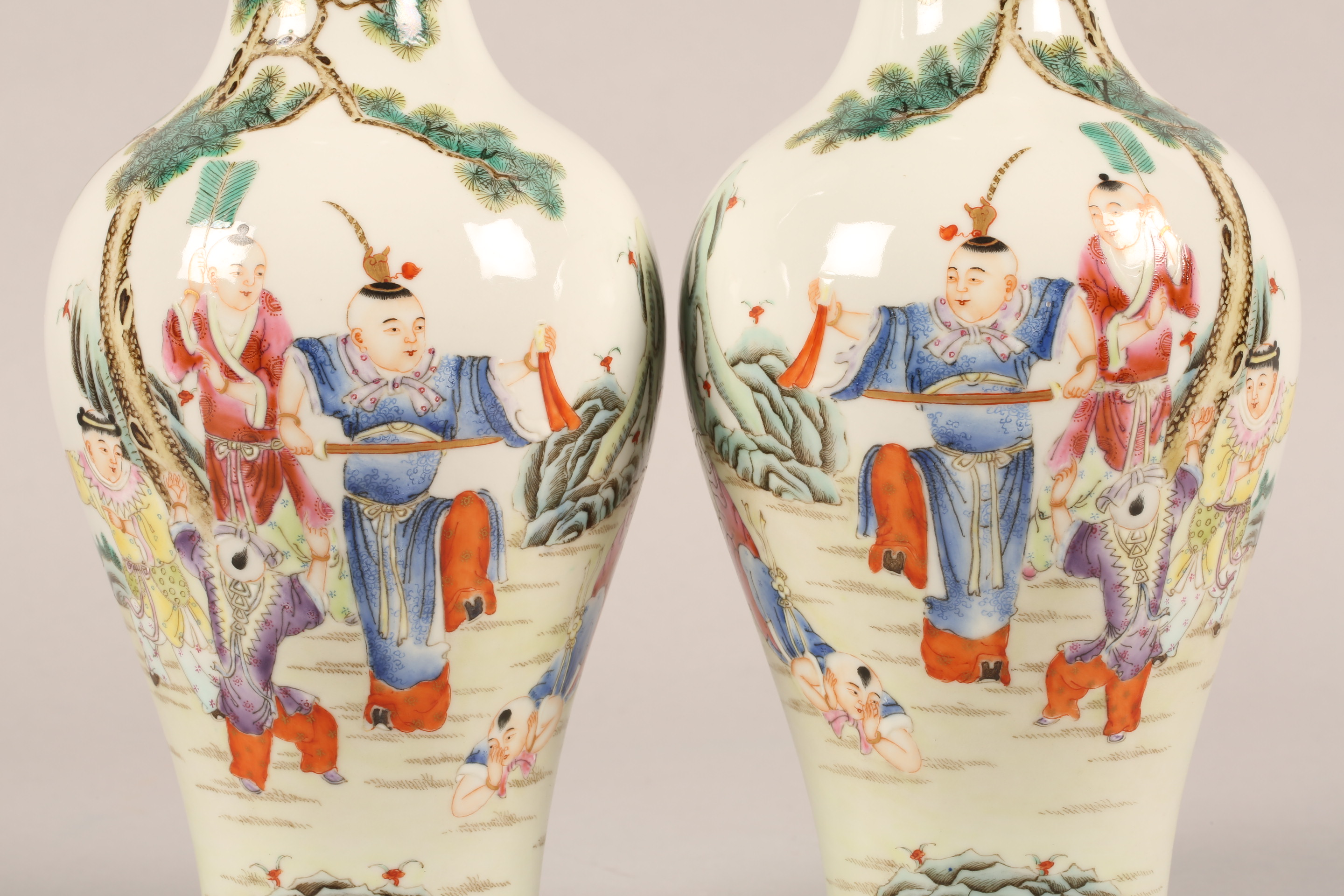 Pair 19th/20th century Chinese vases, of baluster form decorated with children playing with a sword, - Image 7 of 7