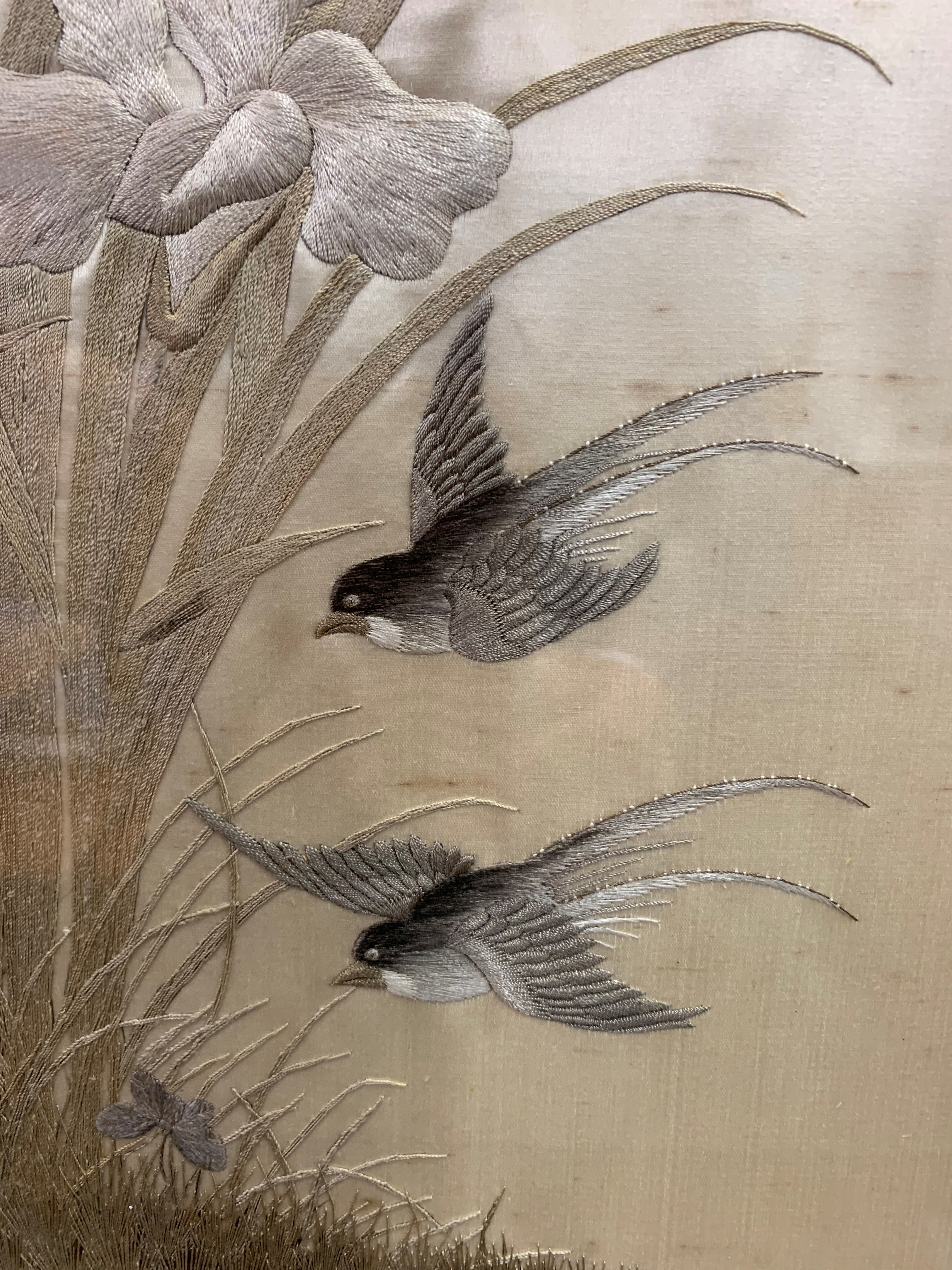 Set of four Japanese framed silk works depicting assorted flowers, bamboo with birds and - Image 9 of 10