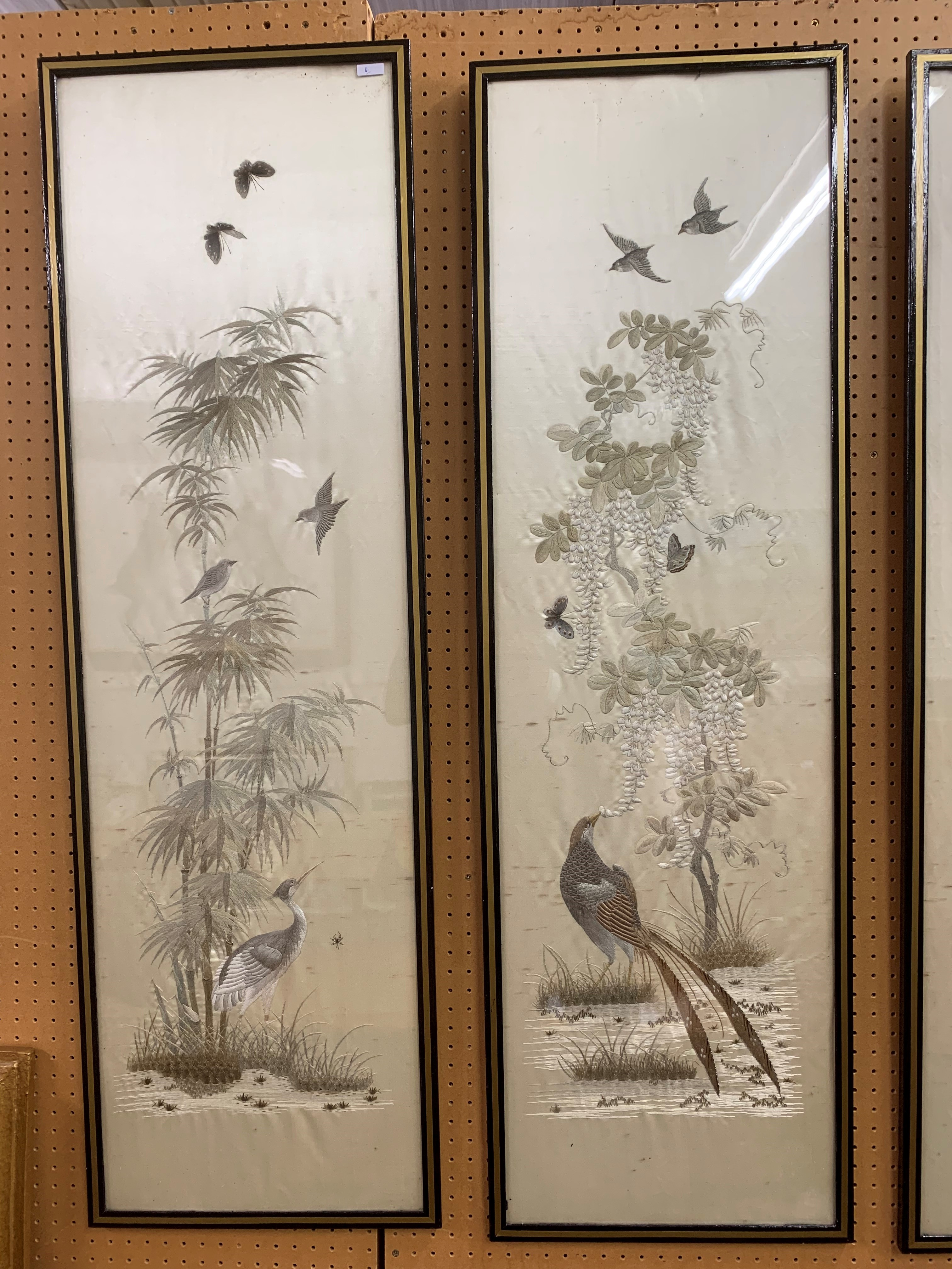 Set of four Japanese framed silk works depicting assorted flowers, bamboo with birds and - Image 3 of 10