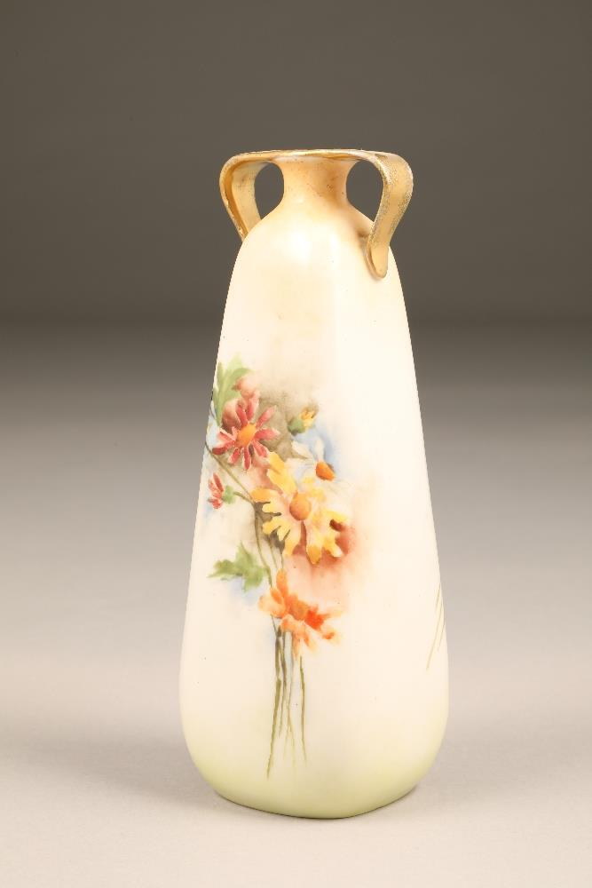 Nautilus porcelain spill vase, square tapered form, twin handles, hand painted with wild flowers, 20