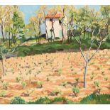 William Crozier ARSA (1897-1930) Gilt framed oil on board, signed 'Grimaud Provence' 42cm x 46cm