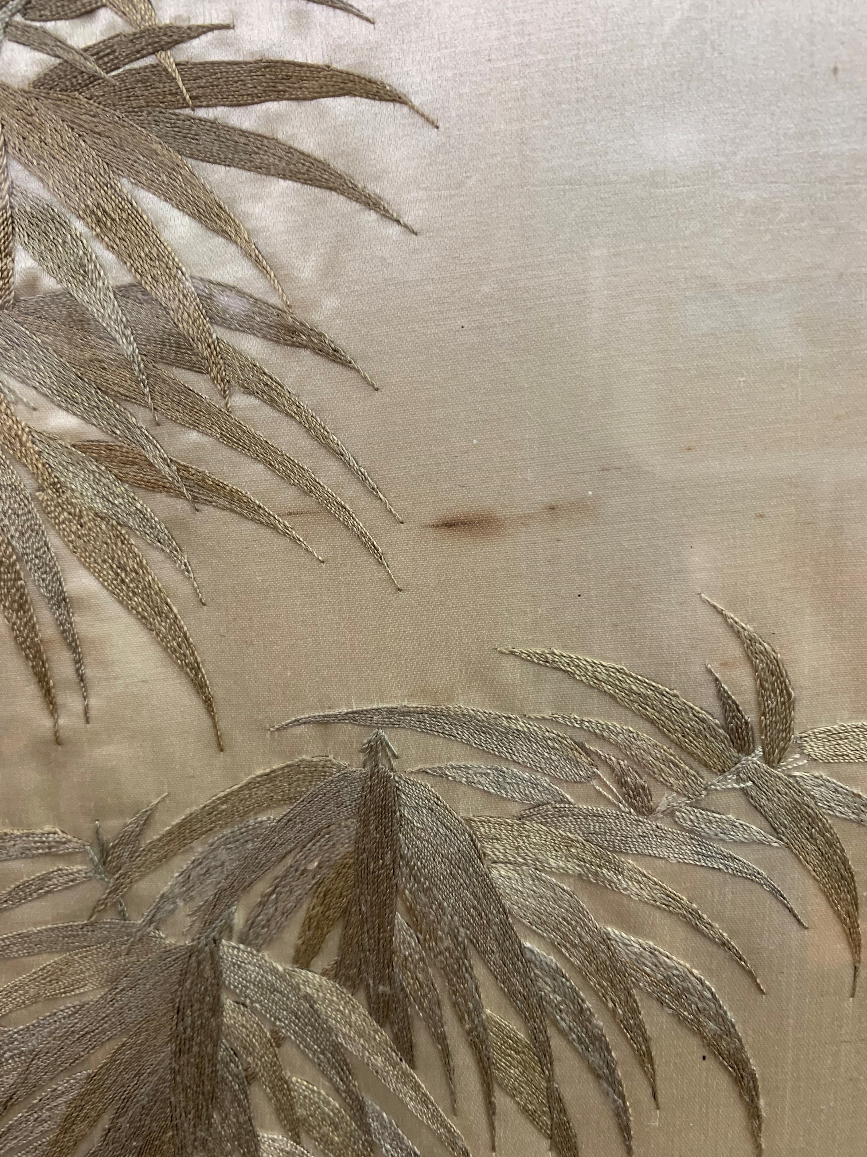 Set of four Japanese framed silk works depicting assorted flowers, bamboo with birds and - Image 6 of 10