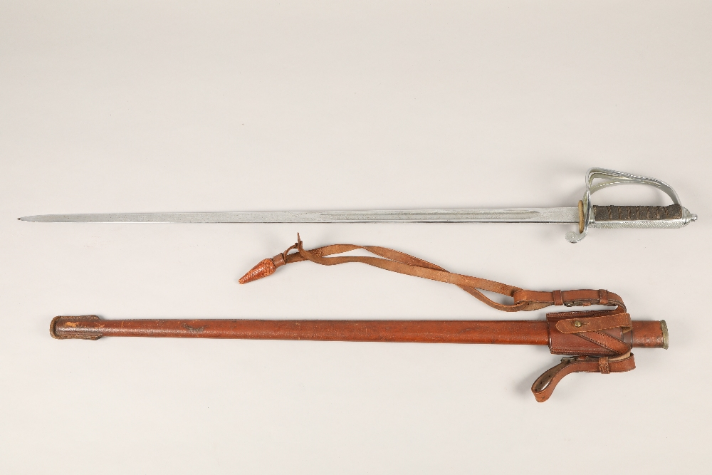 A George V officers sword by Fenton Brothers, sword cutters to the war office with etched blade