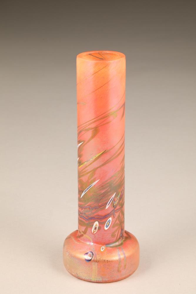 John Ditchfield for Glasform, an orange iridescent cylindrical vase, etched to base Glasform J.