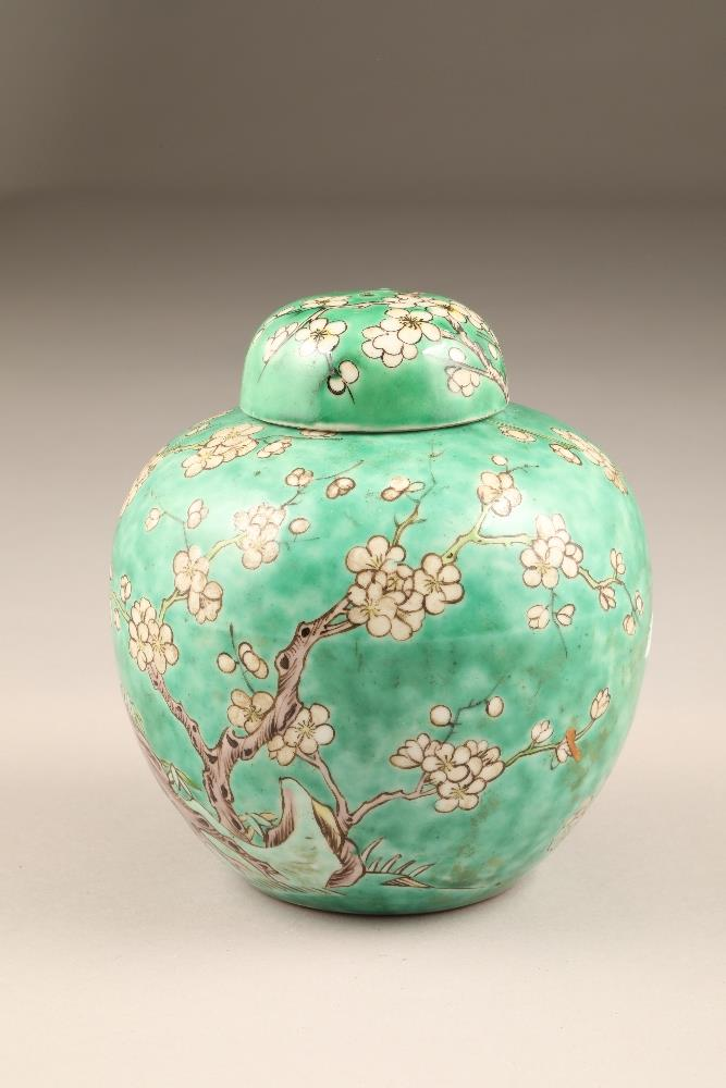 19th/20th century Chinese ginger jar and cover, green ground decorated with birds in a flowering