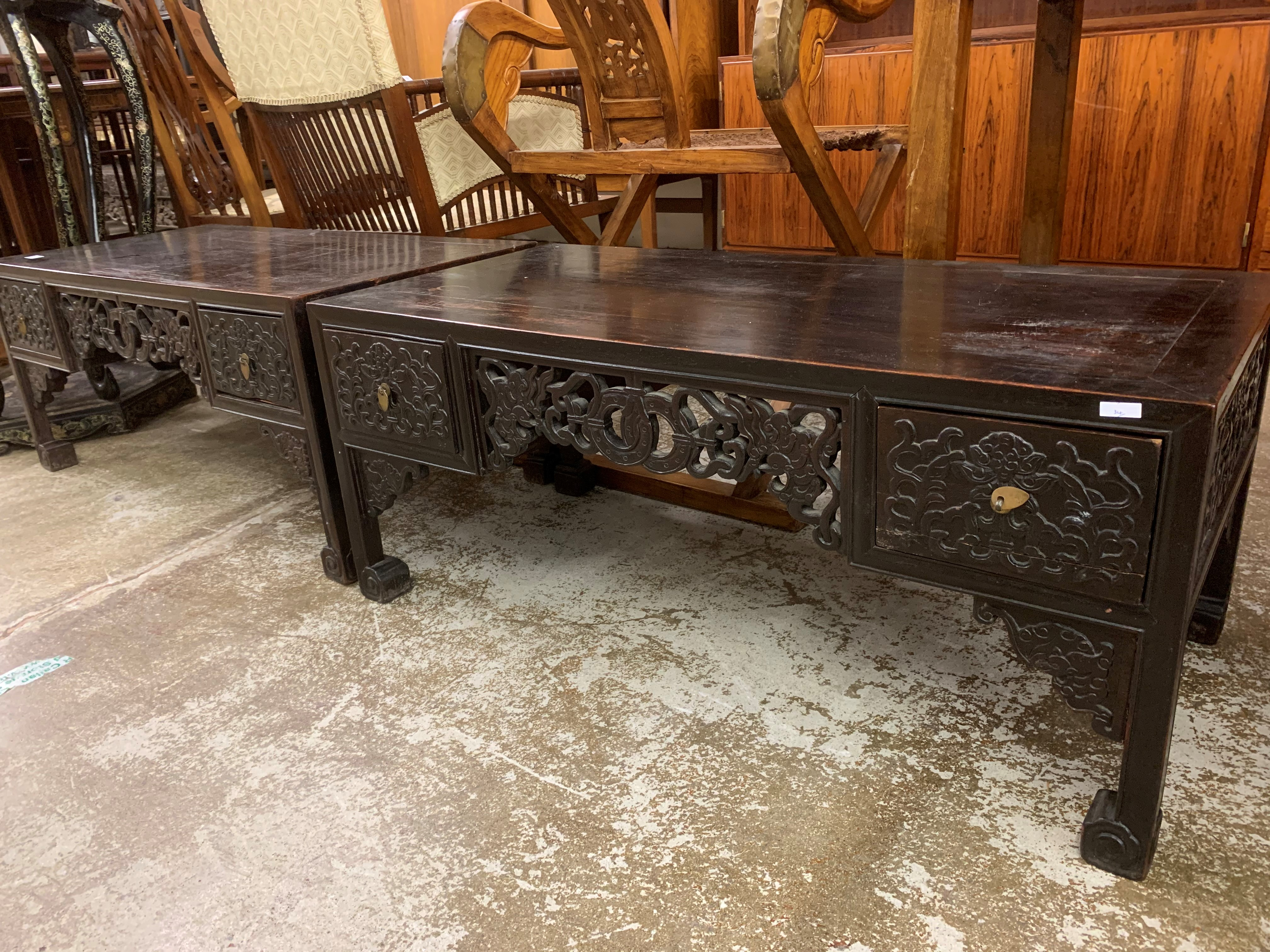 Pair Chinese hardwood low tables, pierced and carved frieze between two single fitted drawers, - Image 14 of 14