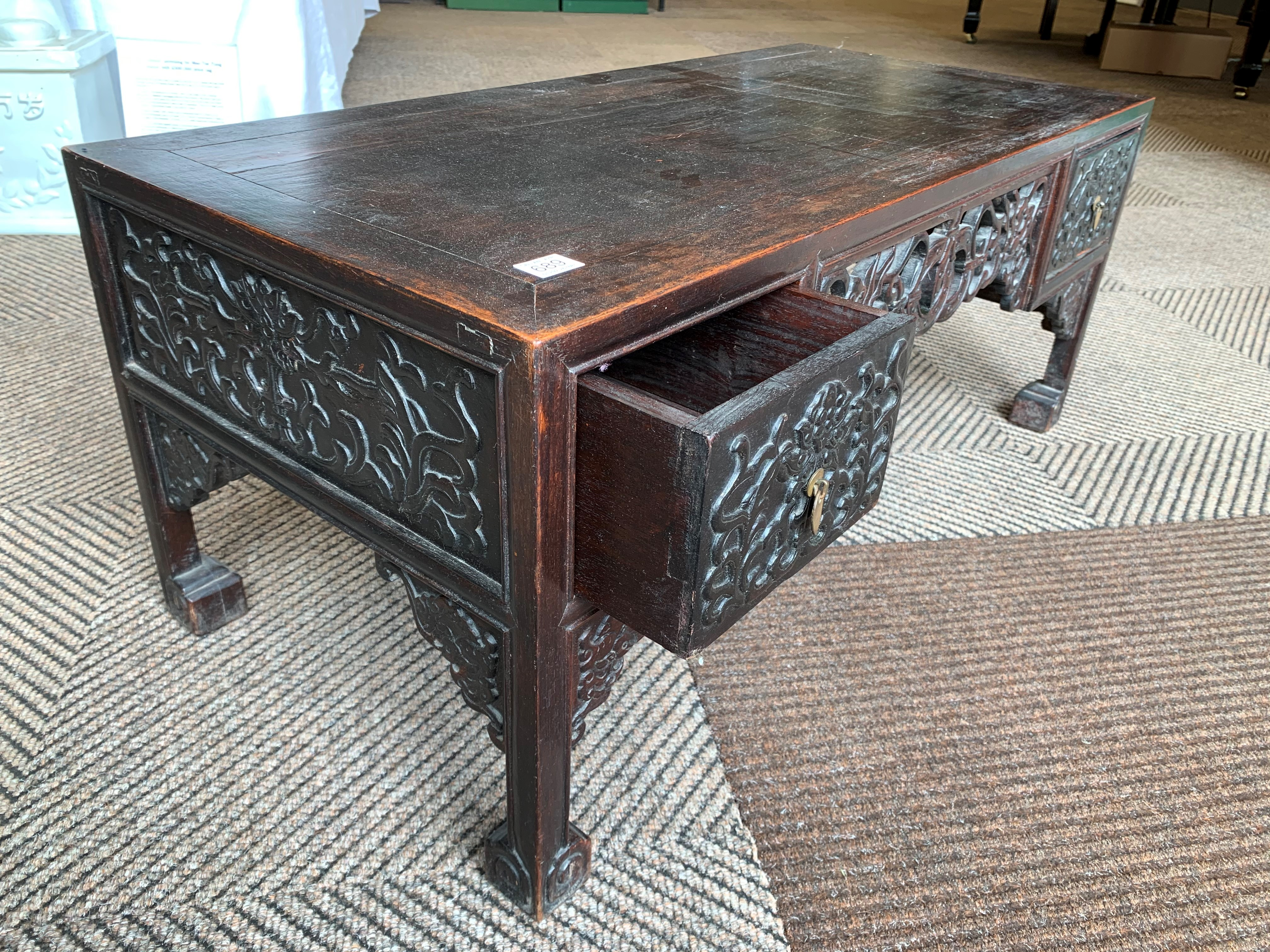 Pair Chinese hardwood low tables, pierced and carved frieze between two single fitted drawers, - Image 9 of 14