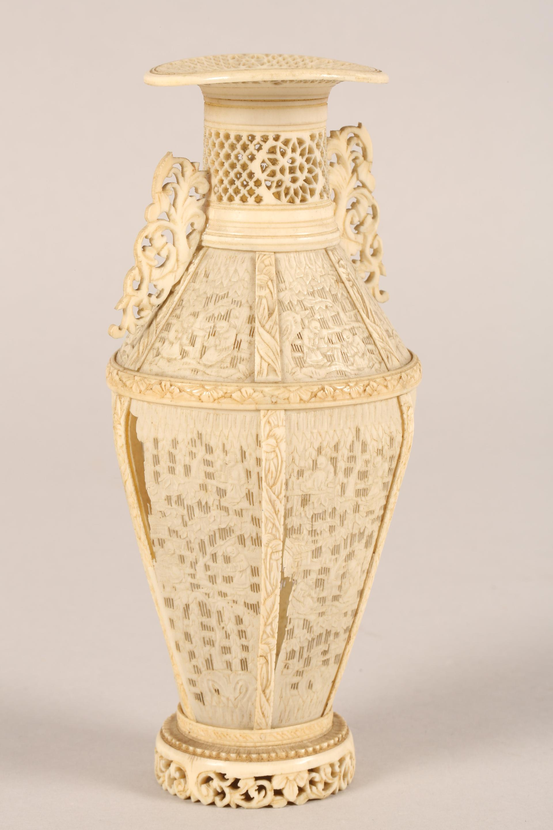 19th century Chinese Canton reticulated ivory twin handled vase (minor damages) 17.5cm high. - Image 5 of 7