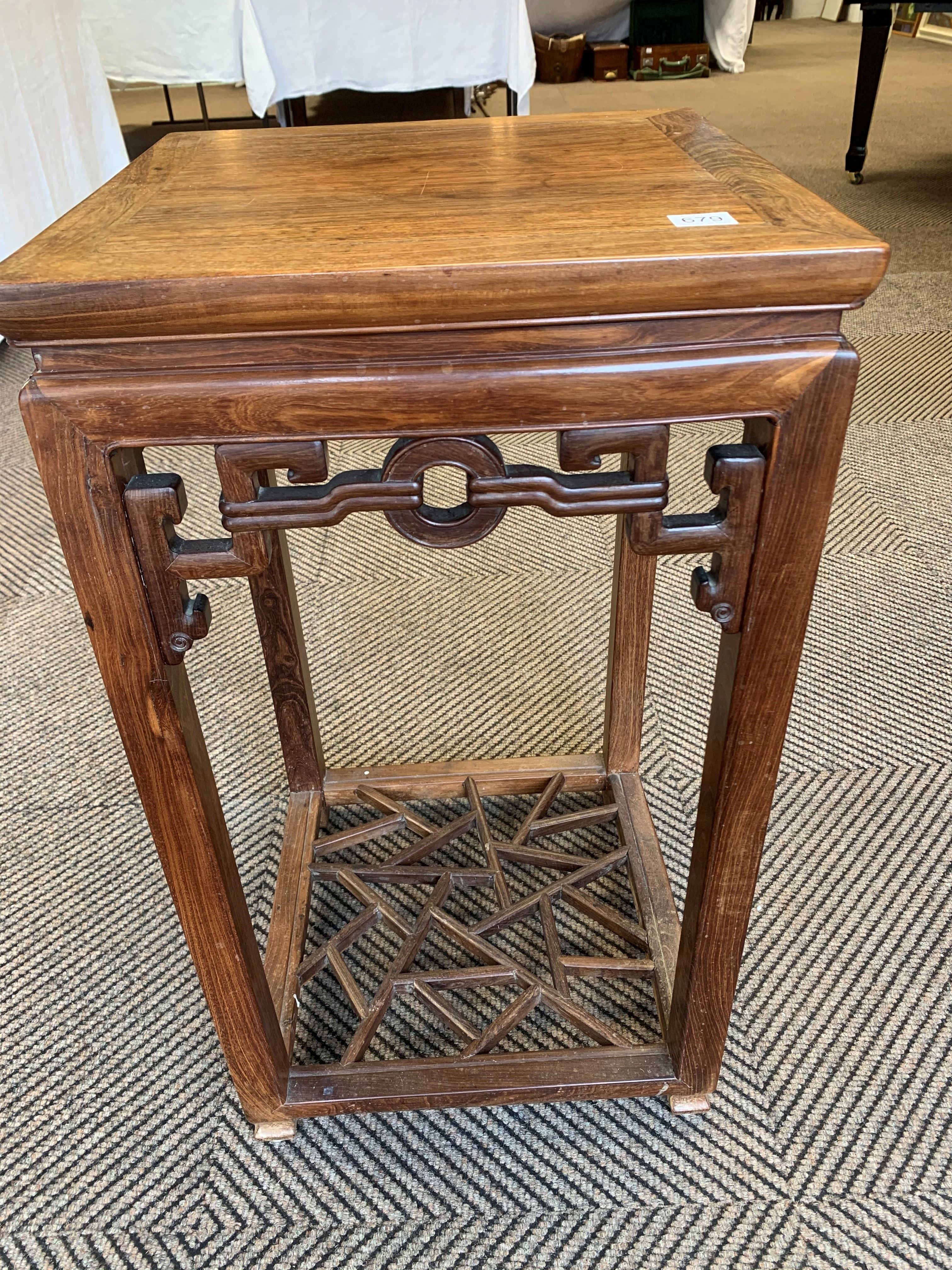 Chinese hardwood jardiniere stand, square topped raised on four legs united by cross stretchers, - Image 4 of 6