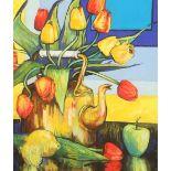 Mary Gallacher (Scottish born 1953) ARR Framed mixed media, signed 'Still life, Tulips and a Tea