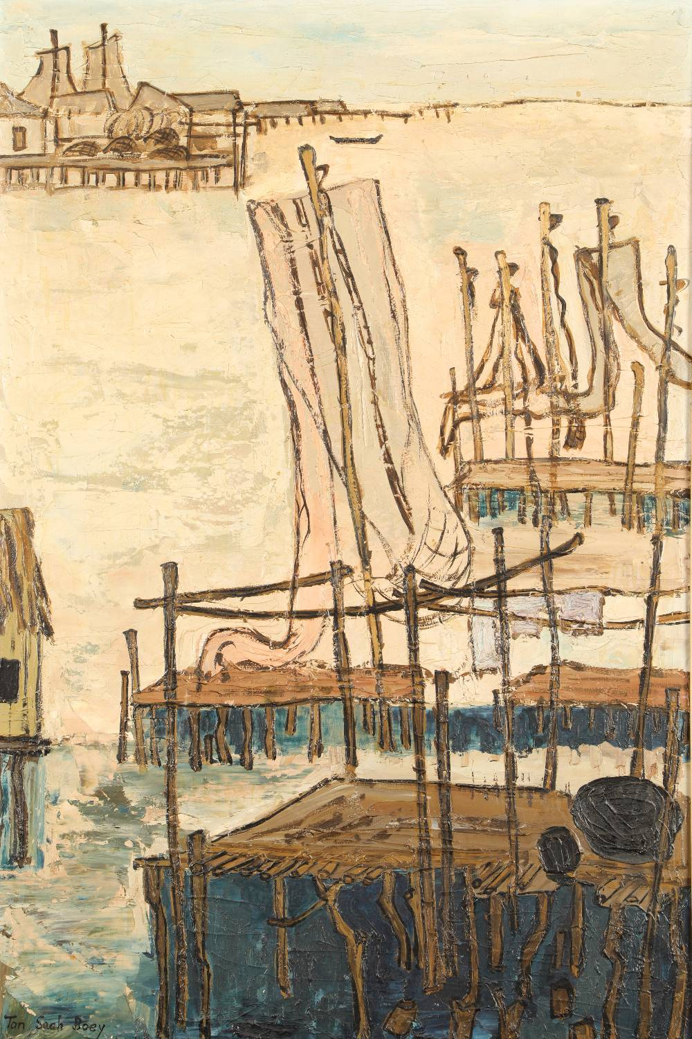 Chen Cheng (Born 1927) ARR Framed oil on canvas, signed Tan Seah Boey dated 1961 'Fishing Village'