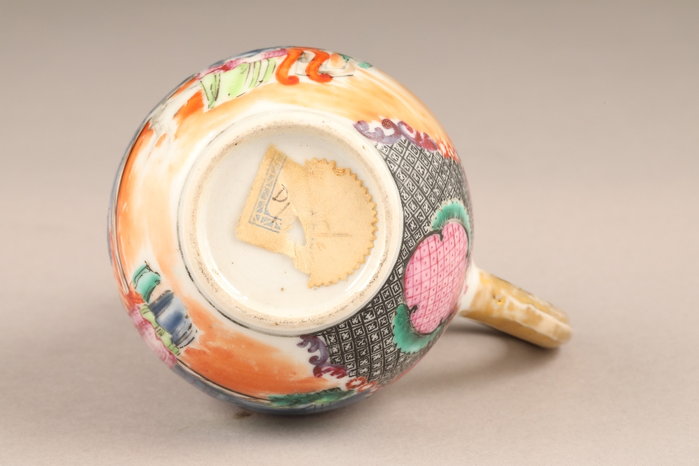 18th/19th century Chinese sparrow beak jug, decorated with figures in garden and river landscape, - Image 4 of 5