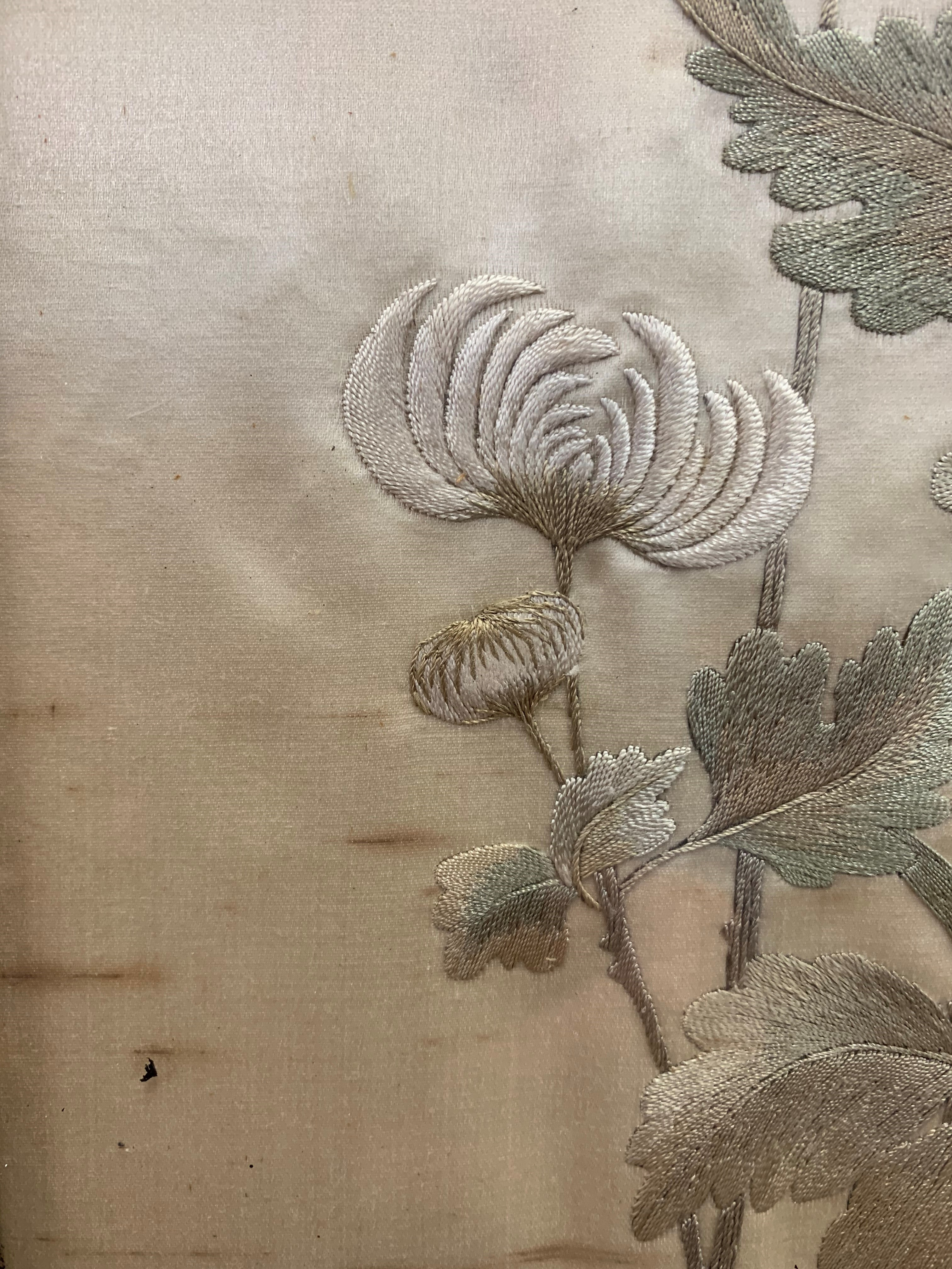 Set of four Japanese framed silk works depicting assorted flowers, bamboo with birds and - Image 5 of 10