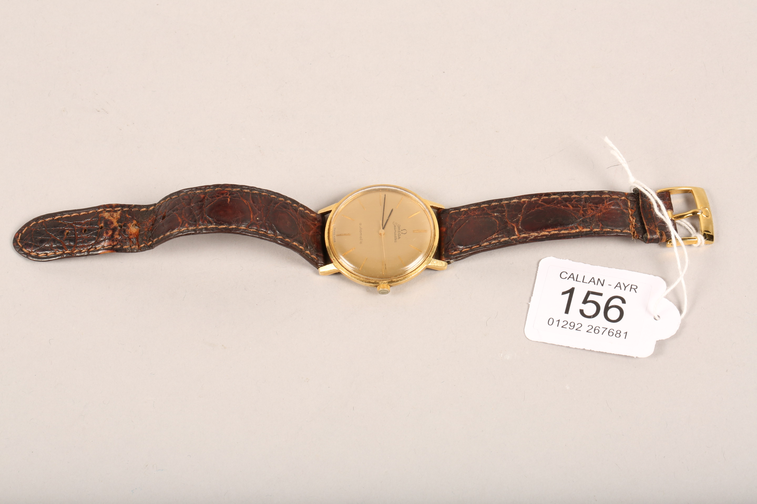 Gents 9 carat gold Omega Seamaster automatic wrist watch, dial with hour markers and sweeping - Image 6 of 10