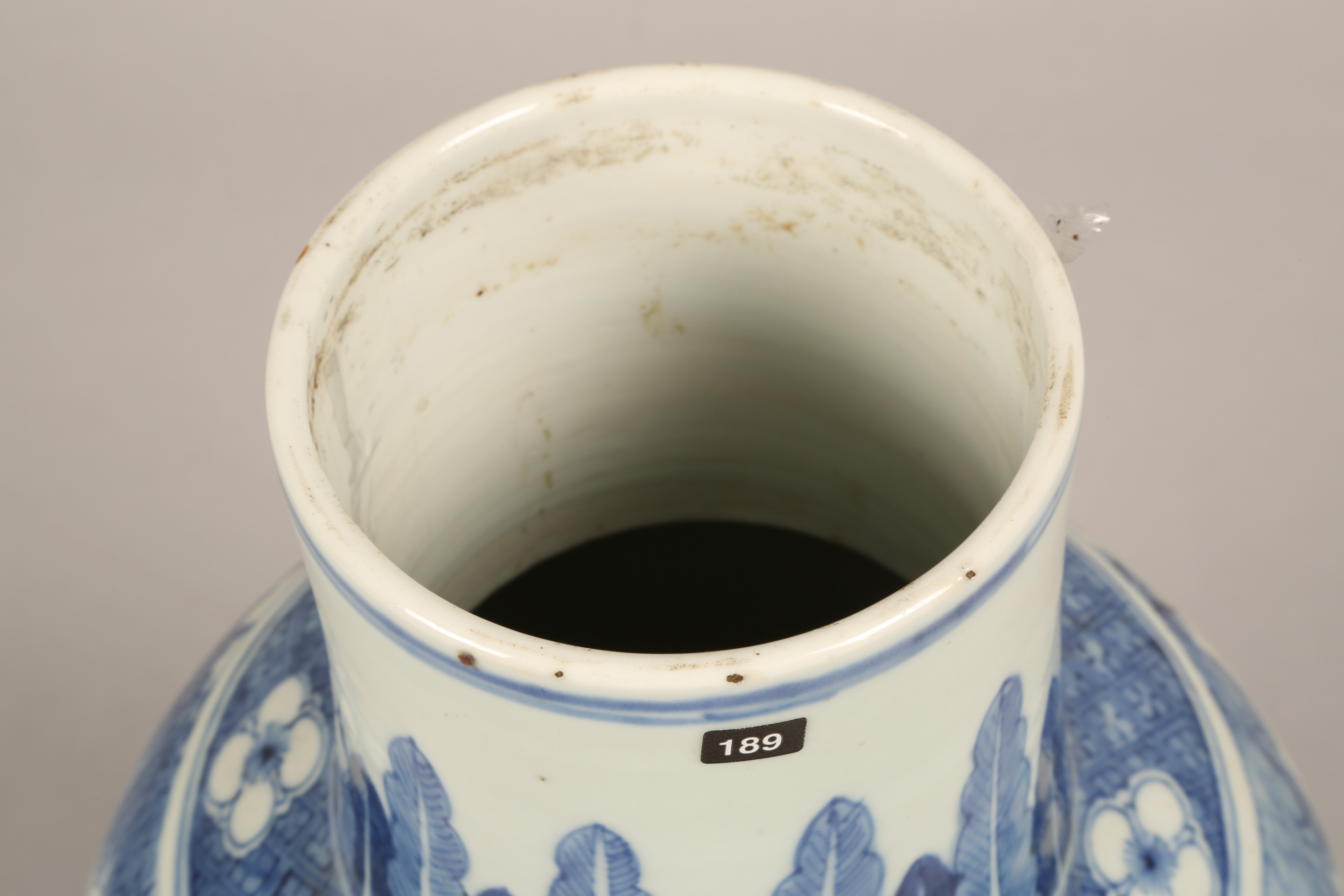 19th century Chinese blue and white vase of baluster form, decorated with figures in a landscape ( - Image 2 of 6