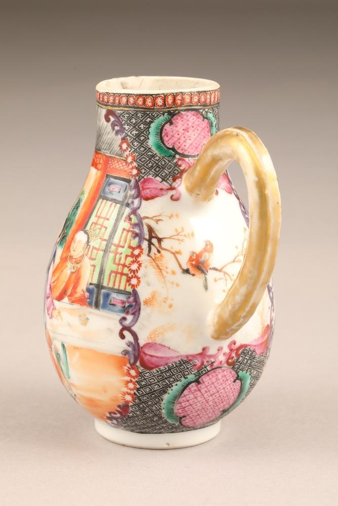 18th/19th century Chinese sparrow beak jug, decorated with figures in garden and river landscape, - Image 5 of 5