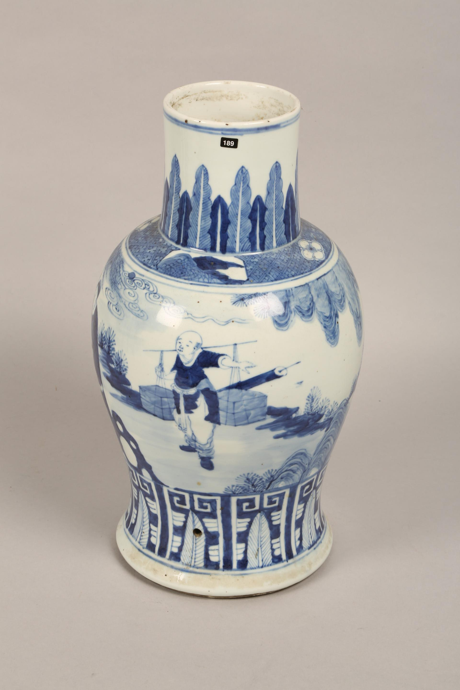 19th century Chinese blue and white vase of baluster form, decorated with figures in a landscape ( - Image 4 of 6