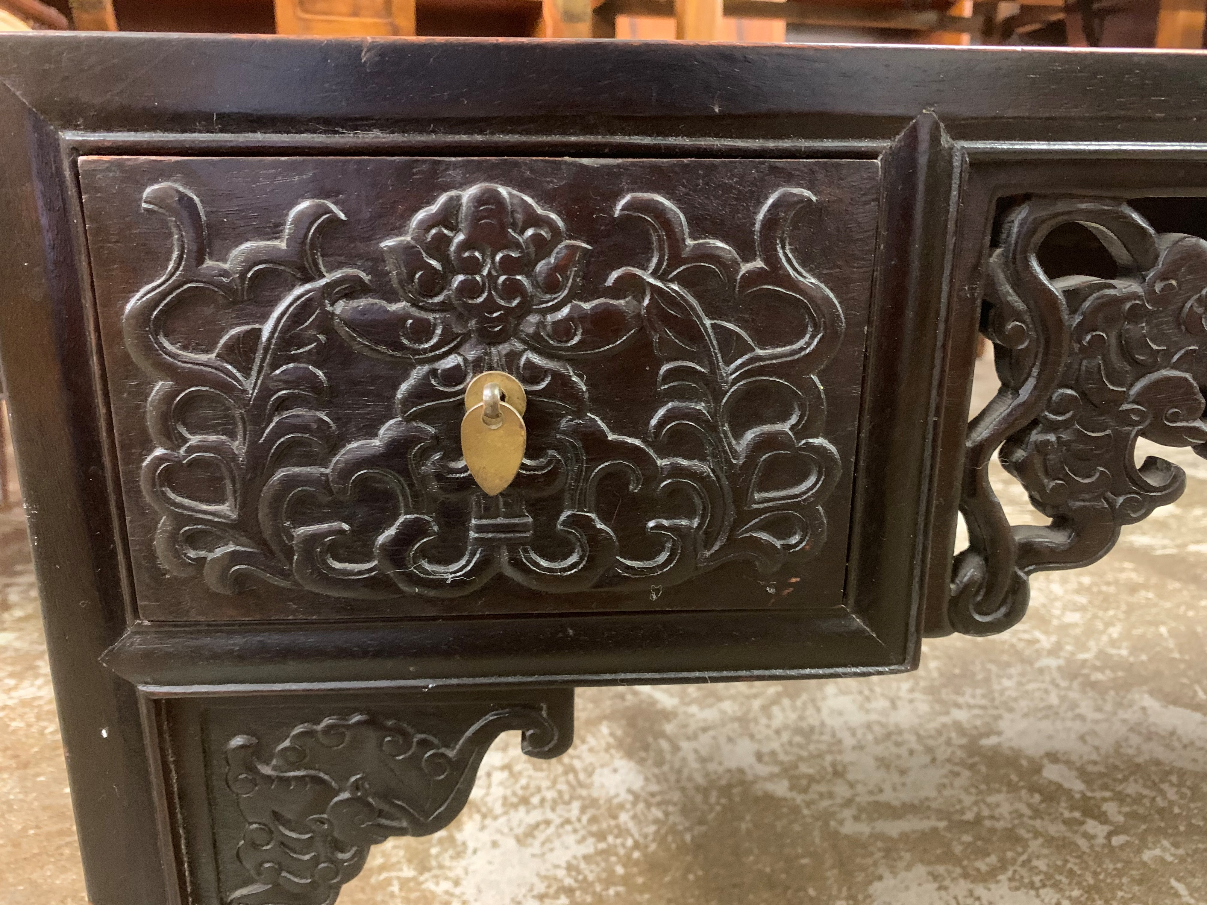 Pair Chinese hardwood low tables, pierced and carved frieze between two single fitted drawers, - Image 10 of 14