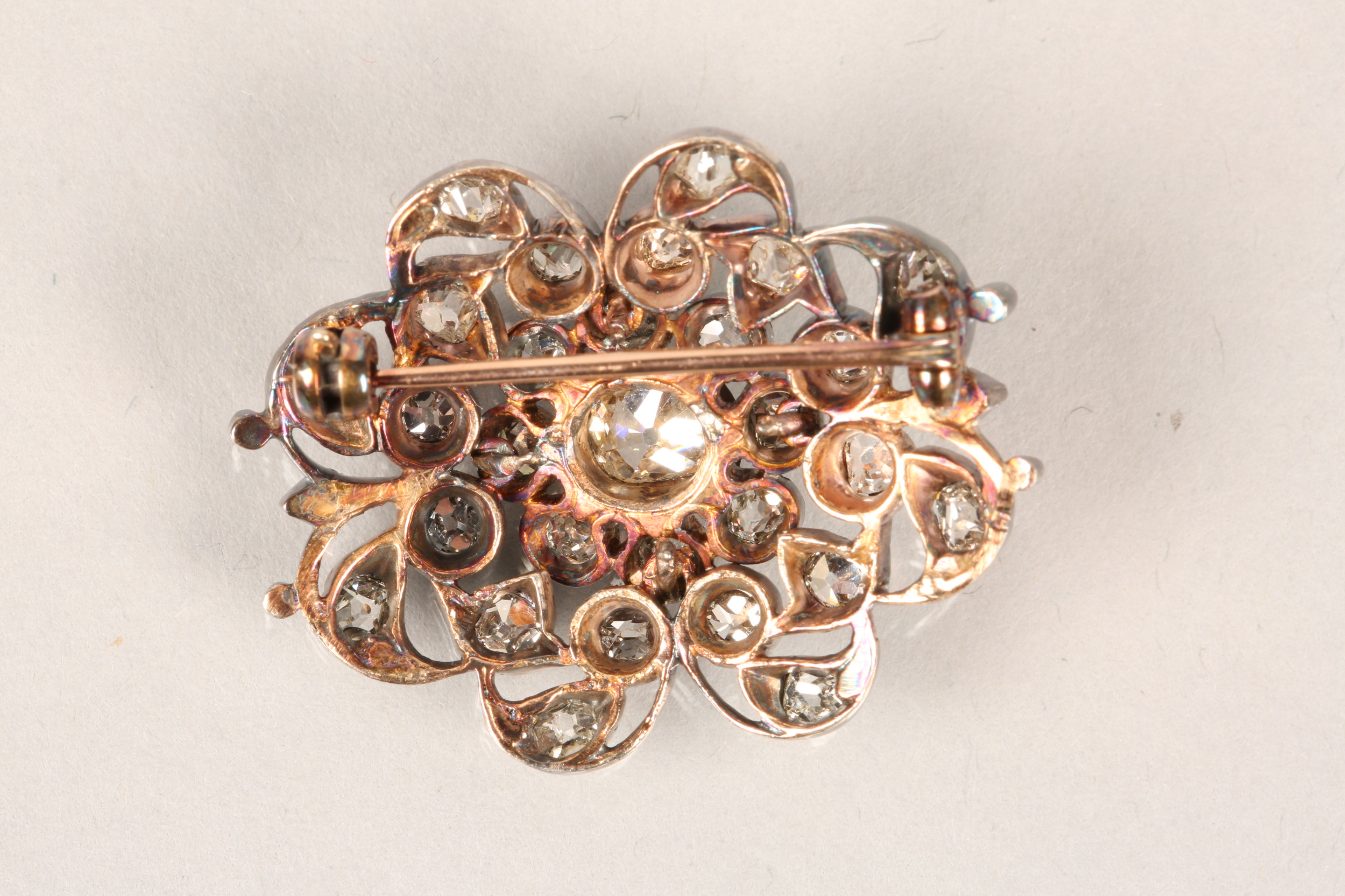 Diamond pierced cluster brooch, thirty one old cut diamonds mounted on heavily tarnished yellow - Image 4 of 7