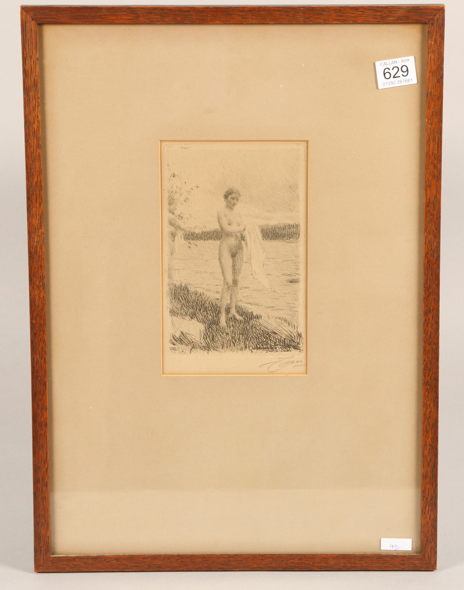 Anders Zorn (Swedish 1860-1920) Framed etching, signed under margin, dated 1919 'Dal River' 19cm x - Image 2 of 4