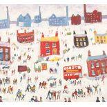 Simeon Stafford (British born 1956) ARR Framed oil on board, signed 'Winter in the City' 60cm x