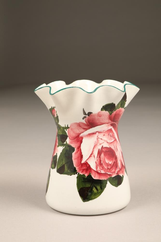 Wemyss pottery vase, lobed rim, hand painted with cabbage roses, incised Wemyss and retailers - Image 6 of 10