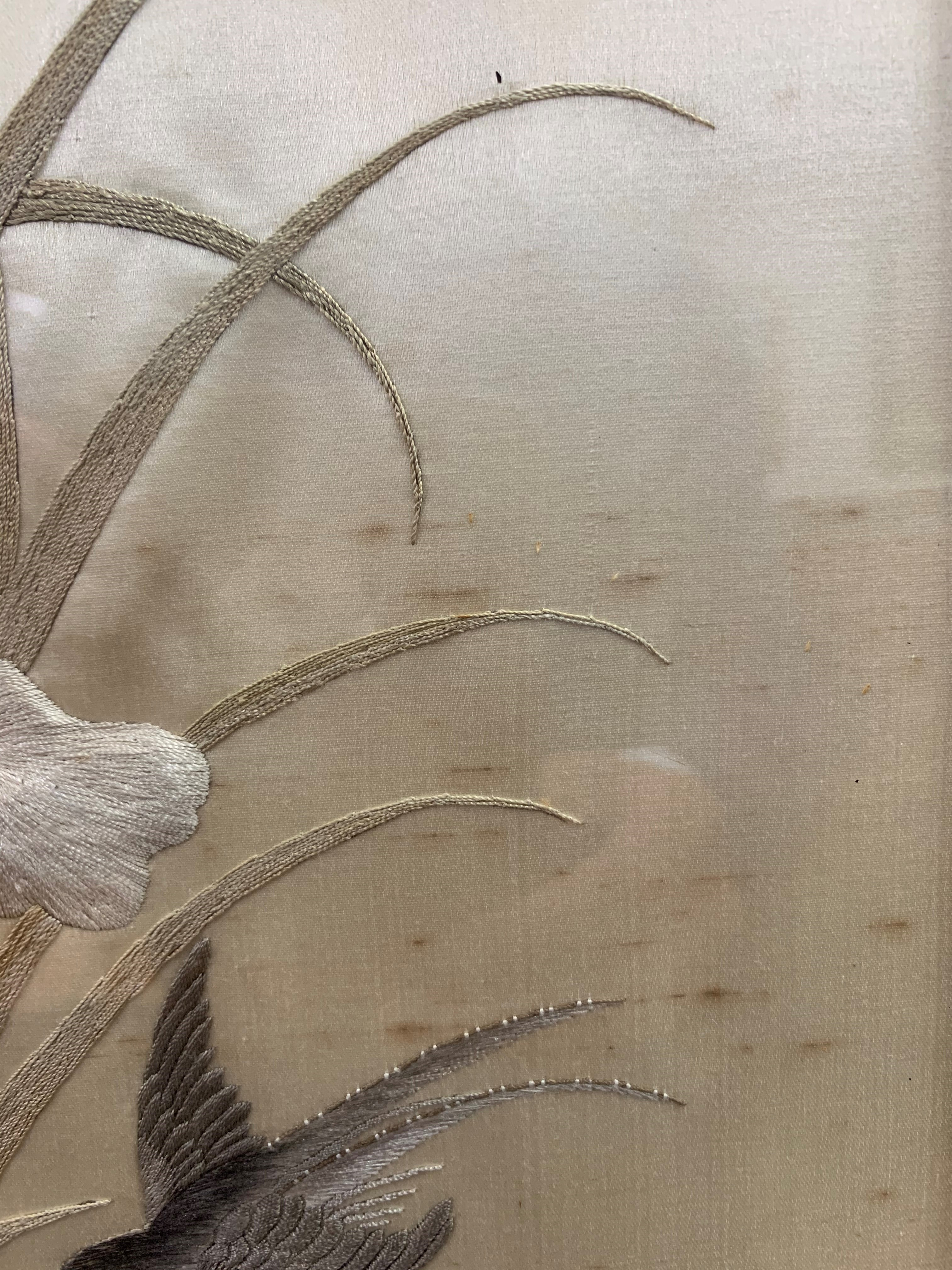 Set of four Japanese framed silk works depicting assorted flowers, bamboo with birds and - Image 4 of 10