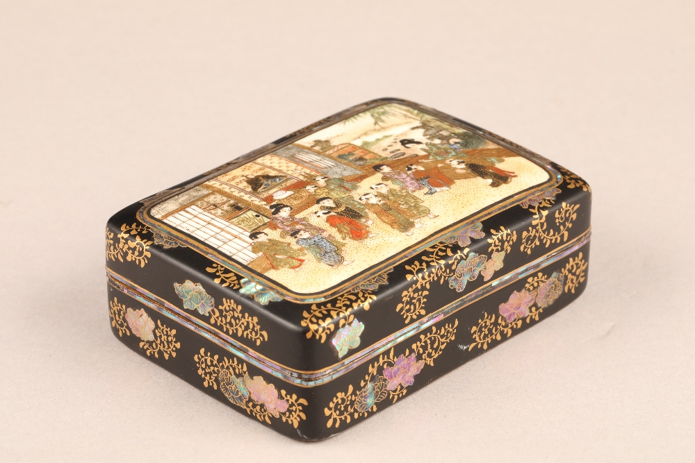 Japanese satsuma rectangular trinket box and cover, decorated internally and externally with
