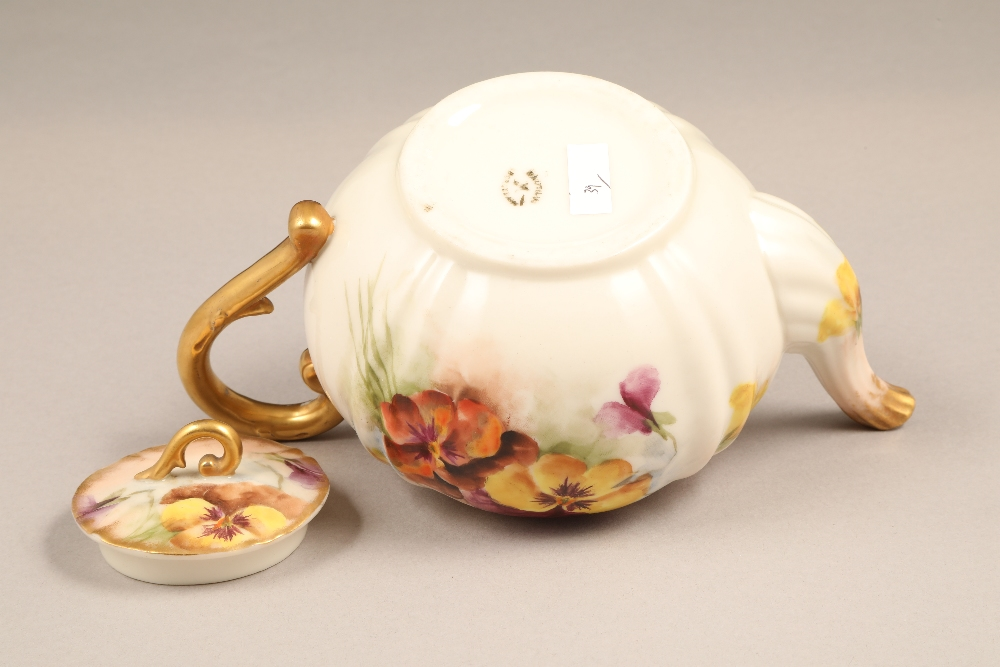 Nautilus porcelain teapot, gilt scroll teapot, hand painted in pansies. - Image 4 of 4