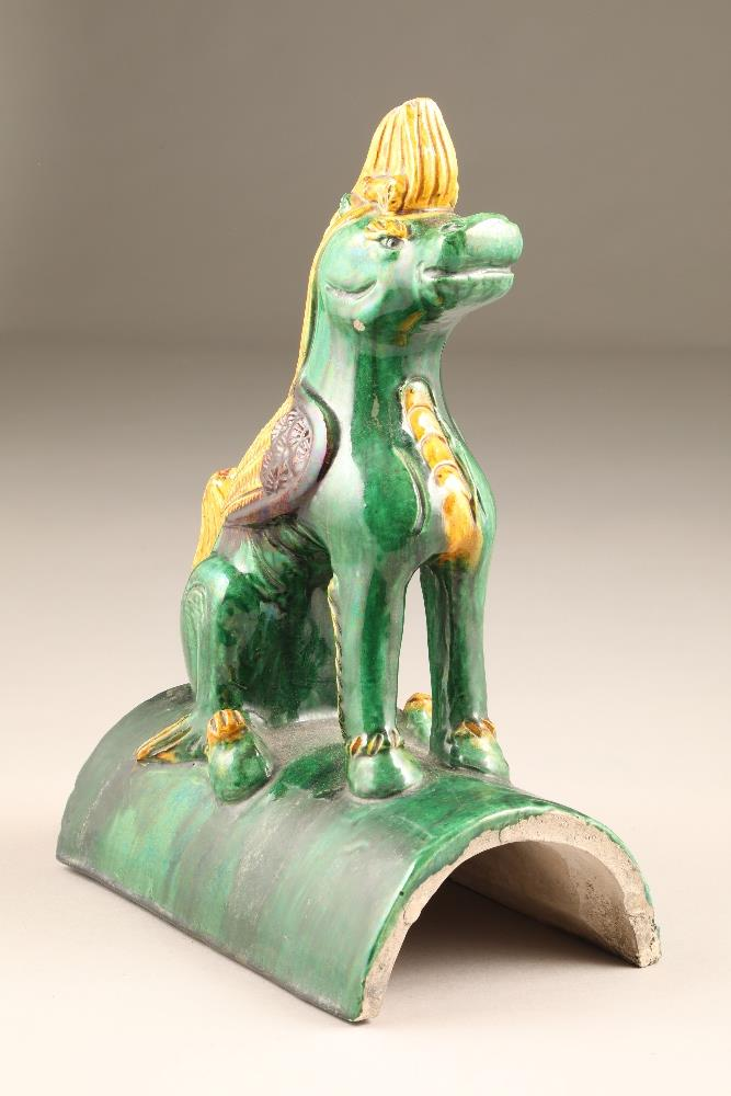 Pair of Chinese roof tiles in the form of heavenly horses in green, brown and yellow glaze, 24.5cm - Image 4 of 12