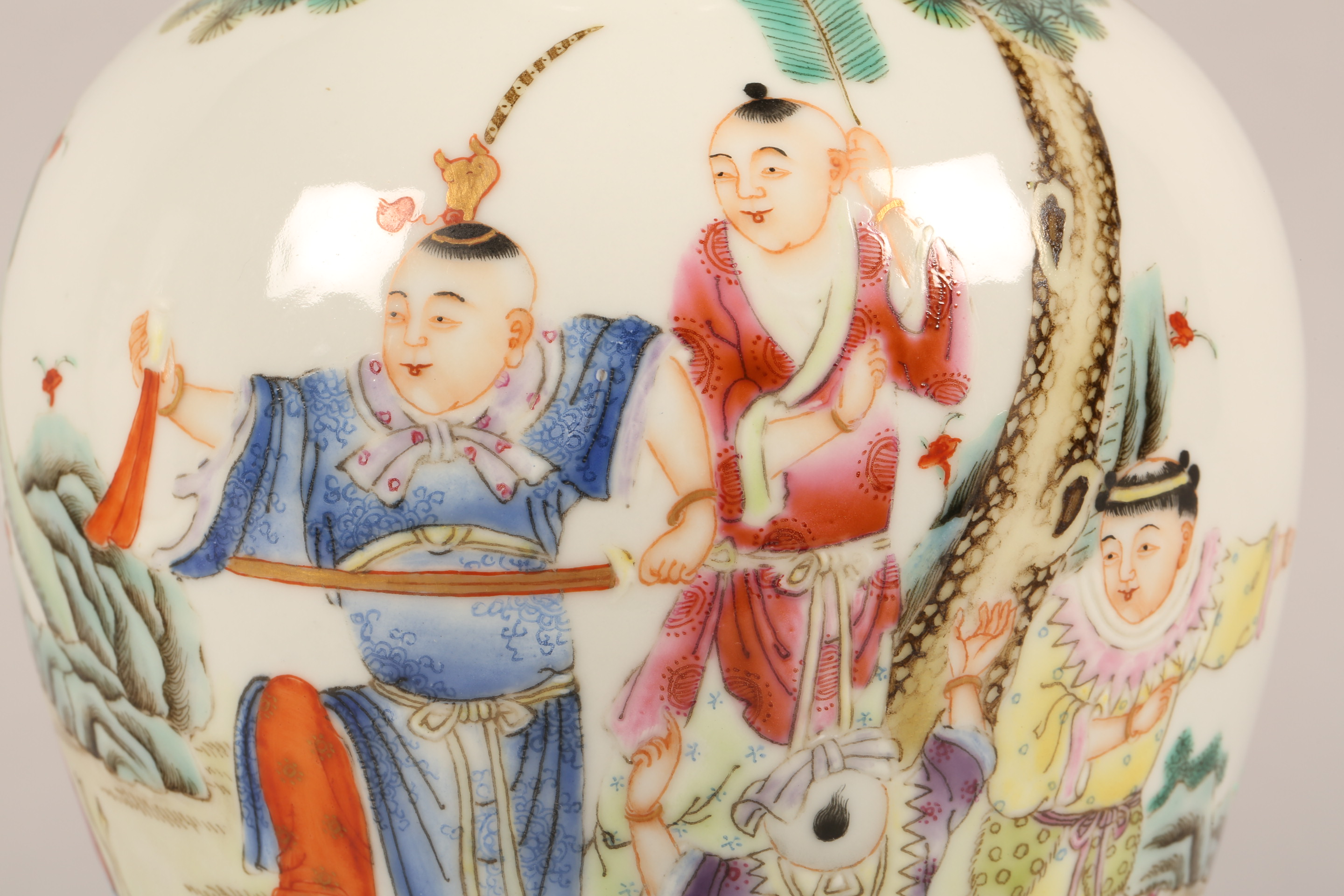 Pair 19th/20th century Chinese vases, of baluster form decorated with children playing with a sword, - Image 3 of 7