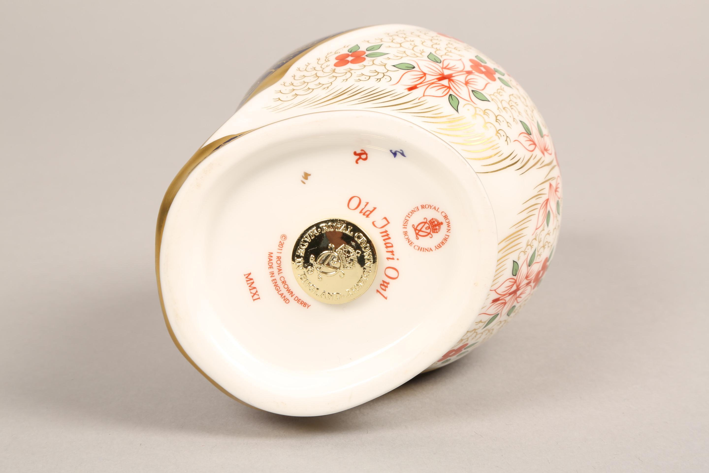 Royal Crown Derby bone china figure ornament, Old Imari Owl, 13cm. - Image 4 of 4