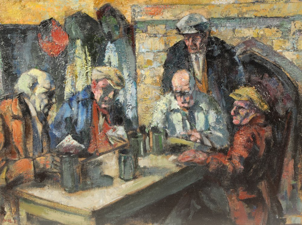 Alfred Wolmark (British 1877- 1961) ARR Framed oil on canvas, signed 'The Card Players' 40cm x 54cm