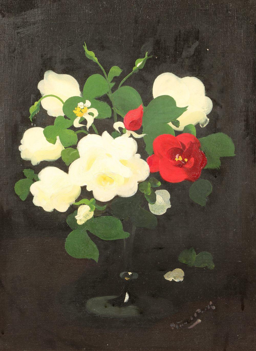 James Stuart Park (Scottish 1862-1933) Framed oil on canvas, signed 'White and Red Roses' 49cm x