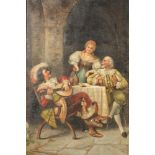 Charles Mussard Pair of framed oils on canvas, signed 'Merry Cavaliers' 46cm x 30c