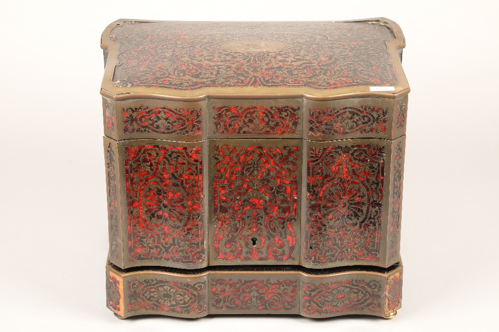 19th century French boulle work liqueur cellar, hardwood case with exterior boulle work - Image 3 of 7
